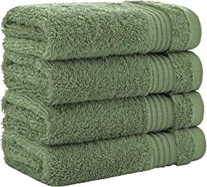 Luxury Turkish Cotton Washcloths for Easy Care, Extra Soft & Absorbent, Fingertip Towels, 4 Pack Washcloth Set by United Home Textile, Sage Green