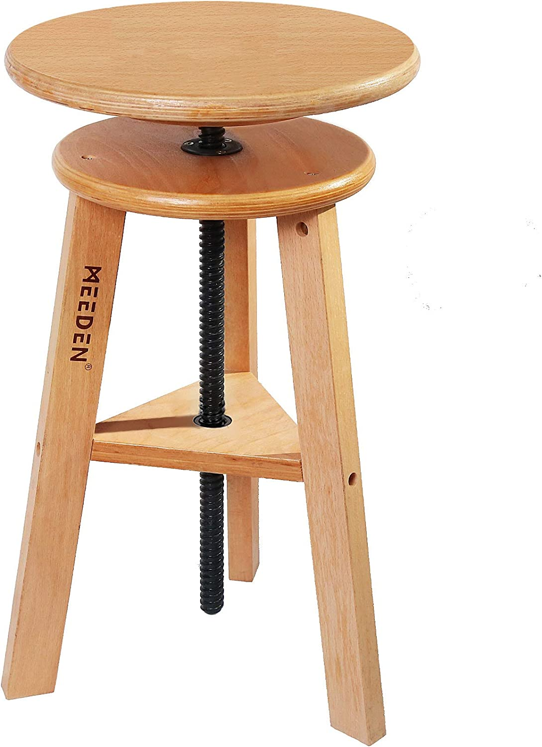MEEDEN Wooded Drafting Stool with Adjustable Height,Artist Stool,Wood Bar Stool,Kitchen Stool,Perfect for Artists Studio,Home Use,Kitchen,Bars
