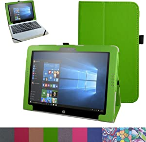 """HP Pavilion X2 12 Case,Mama Mouth PU Leather Folio 2-Folding Stand Cover for 12"""" HP Pavilion x2 12 12-b020nr 12-b010nr Windows 10 Tablet 2016,Green"""