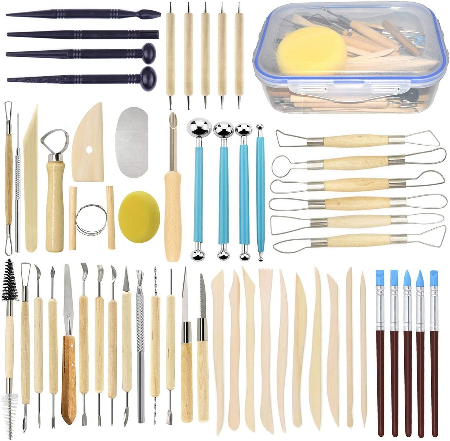 LOYEH 6PCS Pottery Ceramics Tools Polymer Clay Modeling Tool Durable Sculpting Shapers Wooden Handle Double-Headed for Sculpture For Beginners Carving Sculpt Set