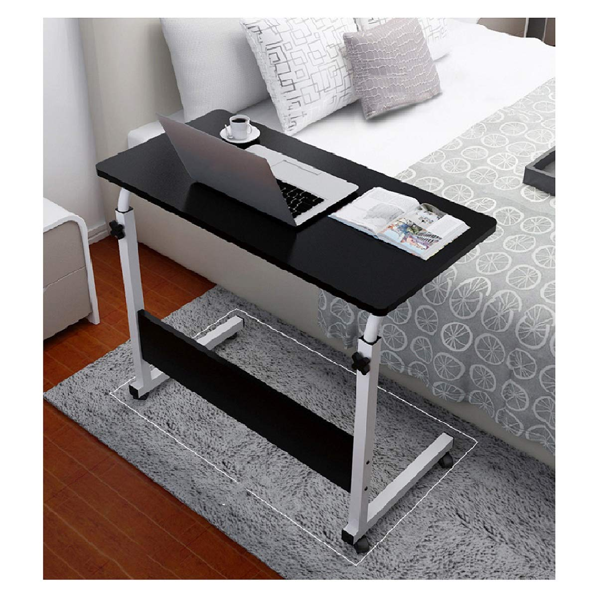 Hopeg 80x50cm Desktop Home Man Women Kids Simple Desk Office Sofa Table, Long Square Small Space Can Lift Mobile Laptop Computer Modern Black Industrial Style Laptop Notebook Multi-use Writing by Hopeg