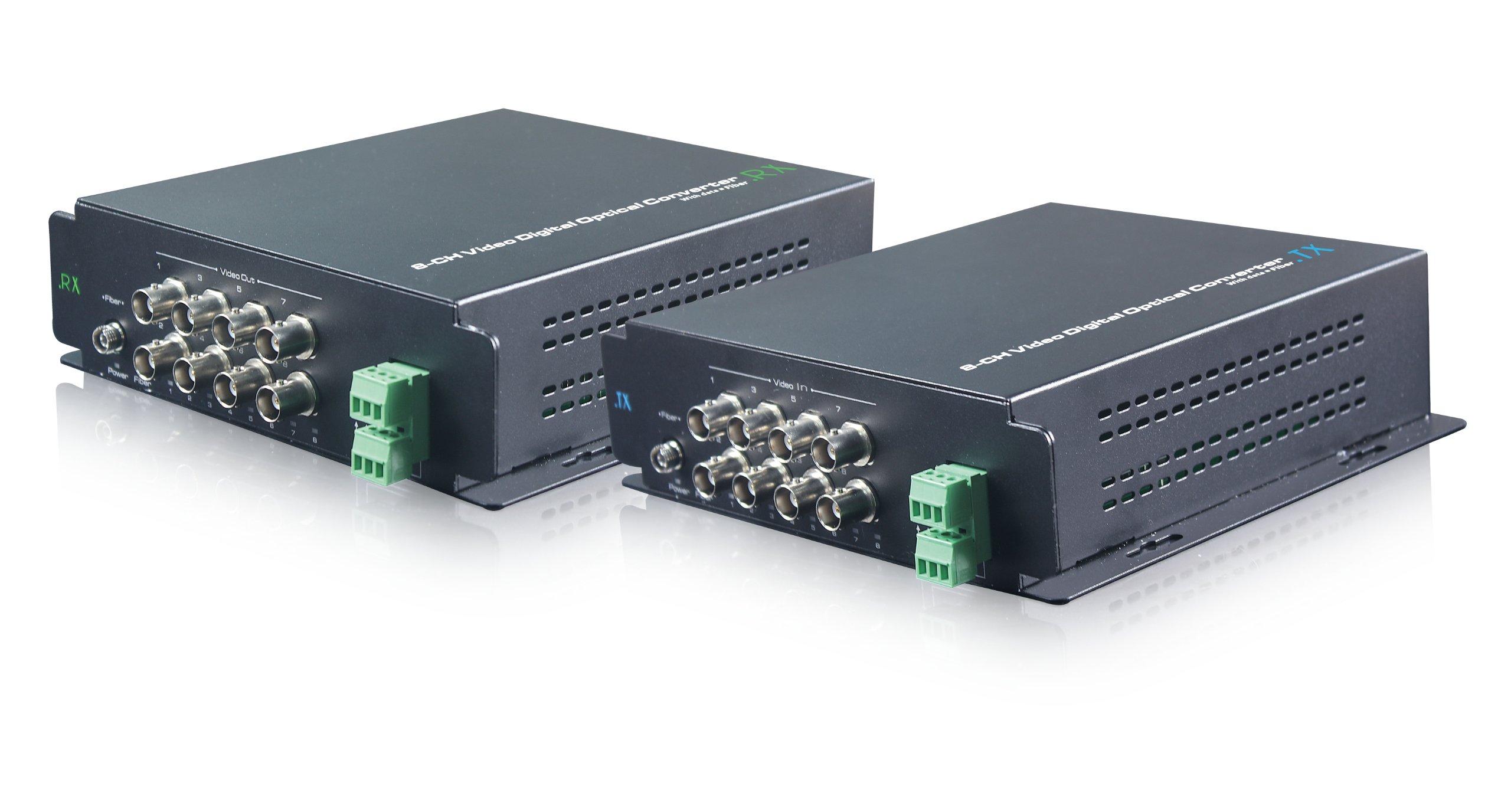 UTEPO UOF108VD 8CH Video 1CH Data Video Balun Optical Fiber Media Converter Transceiver Extender Multiplexer for CCTV Camera (Black)