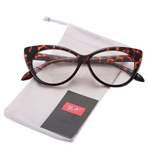 4c8c2386ee Pro Acme Vintage Inspired Fashion Mod Chic High Pointed Clear Lens Cat Eye  Glasses (Leopard