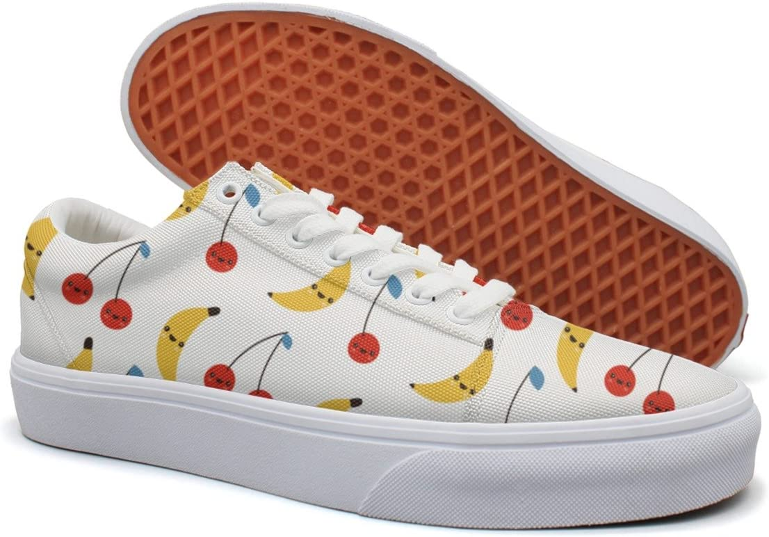 VCERTHDF Print Trendy Cherry Banana Summer Fruits Low Top Canvas Sneakers