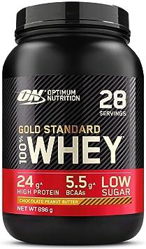 Optimum Nutrition Gold Standard 100% Whey Proteína en Polvo, Glutamina y Aminoácidos Naturales, BCAA, Chocolate Mantequilla de Cacahuete, 28 ...