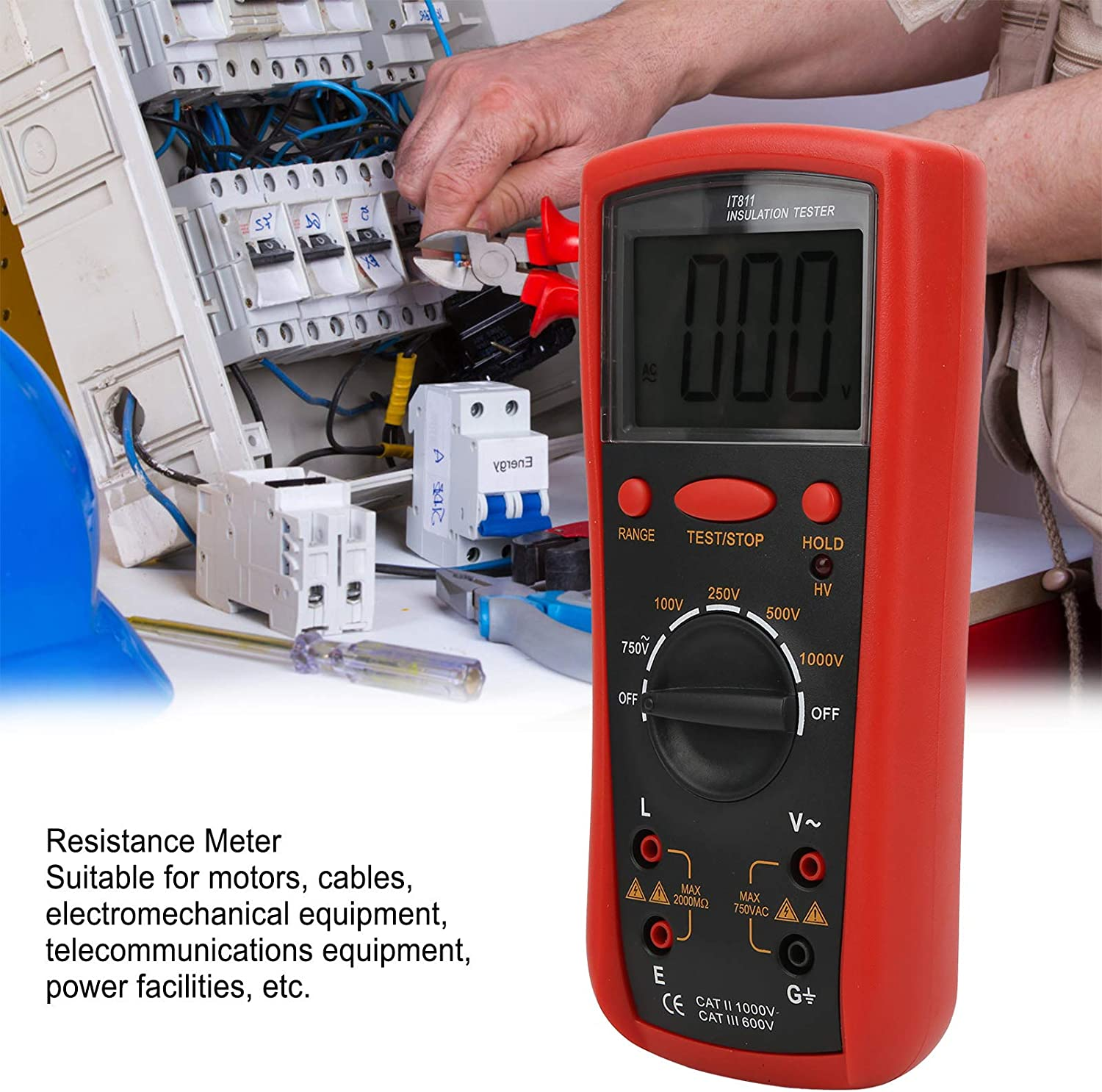 with LCD Display and Wide Measuring Range IT811 Insulation Resistance Meter Cables Electrical Tools for Insulation Resistance Testing of Motors Digital Megohm Tester