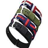 4pc Ritche 18mm Nylon Striped Blue /Red,blue /White/red,black, Army Green Replacement Watch Strap Band