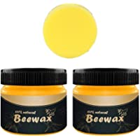 Futurelove Wood Seasoning Beewax - Traditional Beeswax Polish for Wood & Furniture, All-Purpose Beewax for Wood Cleaner and Polish Wipes-Furniture Care Multipurpose Natural Beeswax(2PCX85g+Sponge)