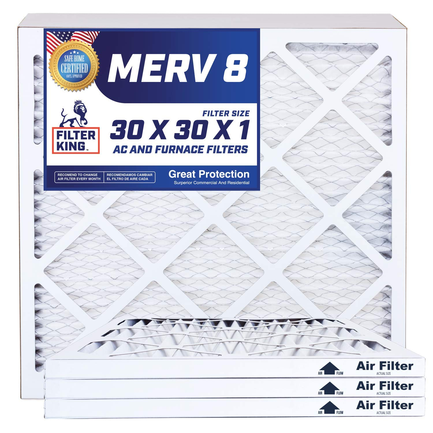 Best 30x30x1 Air Filters | 4 Pack | MERV 8 HVAC Pleated AC Furnace Filters, Protection Against Mold and Pollen, Allergen Reduction, Increases Air Quality | Actual Size 29.5x29.5x1