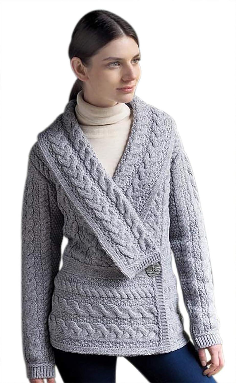 West End Knitwear Wool Knit Irish Peplum Cardigan