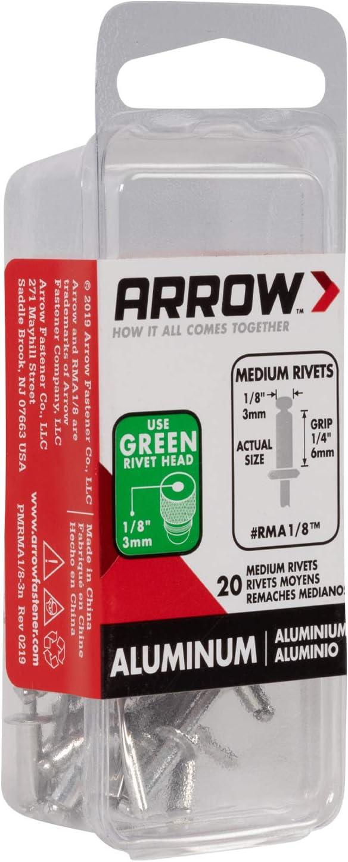 Arrow Fastener RMA1//8 Medium Aluminum 1//8-Inch Rivets 20-Pack