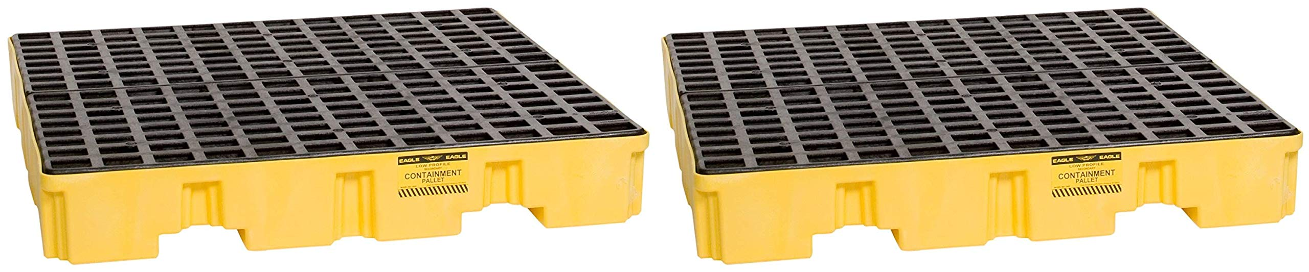 Eagle 1645 Yellow and Black Polyethylene 4 Drum Low Profile Spill Containment Pallet with Flat Top Grating, 8000 lbs Load Capacity, 51.5'' Length, 51.5'' Width, 8'' Height (Pack of 2)
