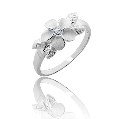 1cc509244 925 Sterling Silver Plumeria w/Maile Leaf CZ Ring-Hawaiian Silver Jewelry,  Size