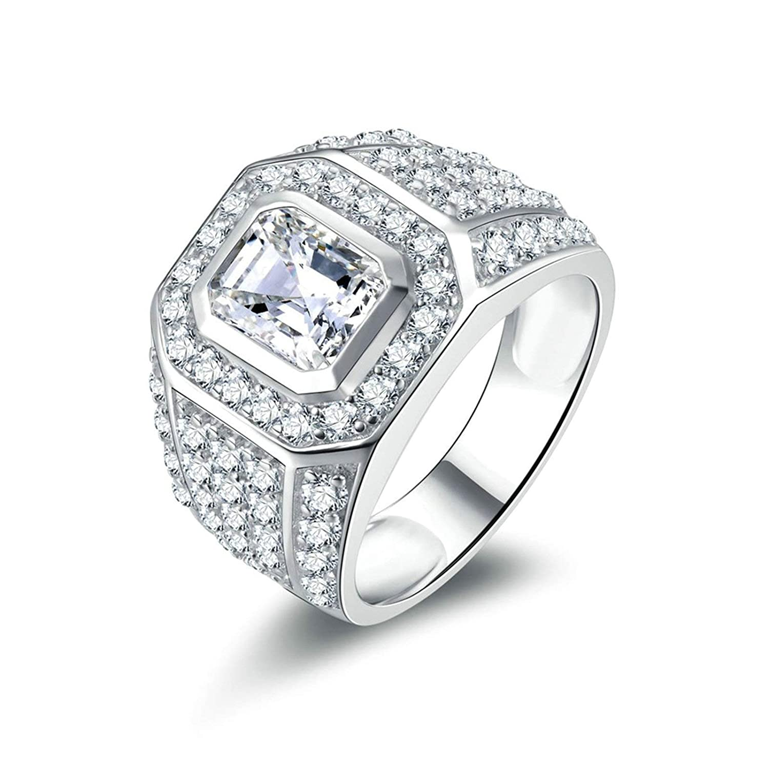 d2d83398de92b Aooaz Jewelry Wedding Ring Silver Material Women's Ring Square Ring ...