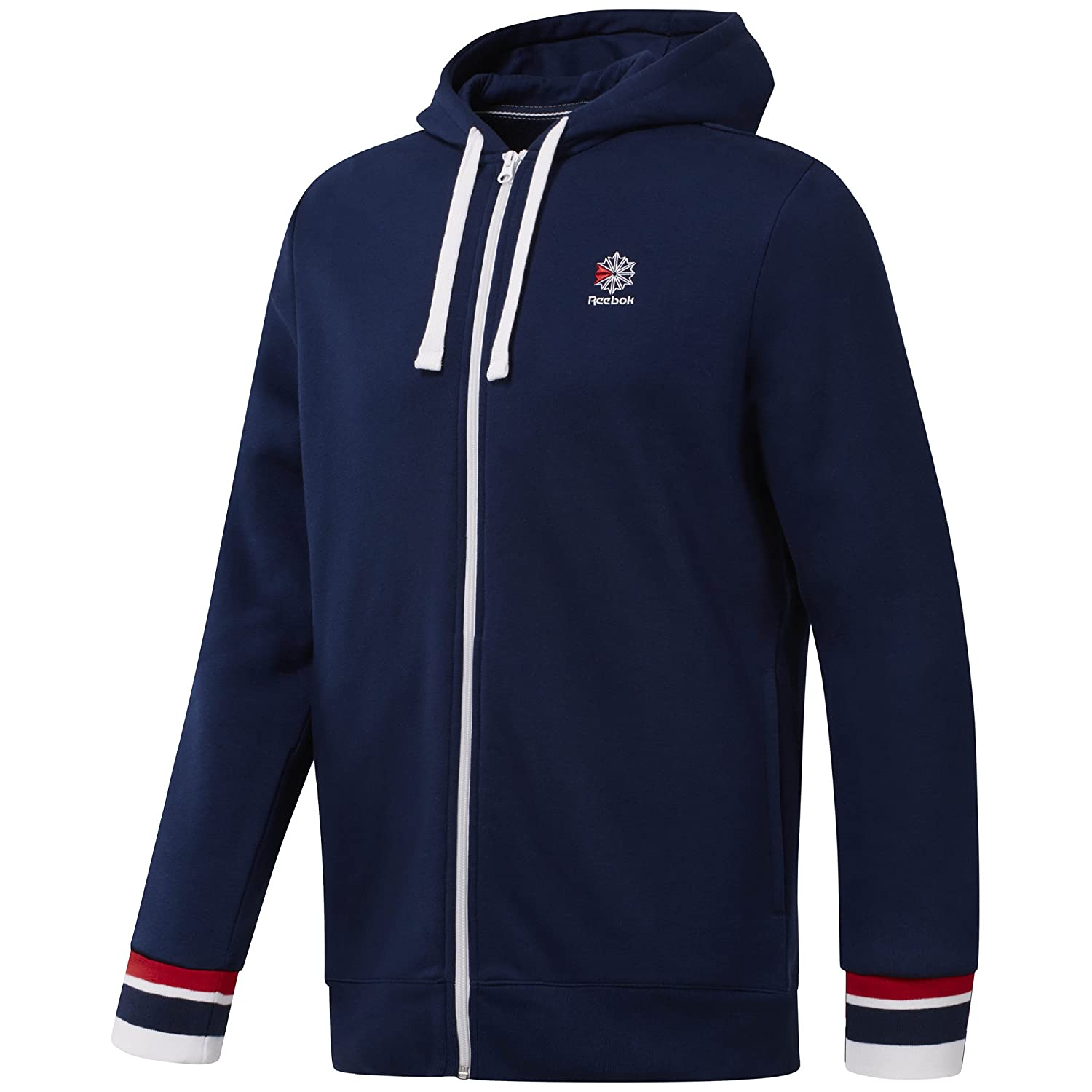 Reebok Men's Fleece Full Zip Hoodie Sweater, Collegiate Navy, S/P DH2109