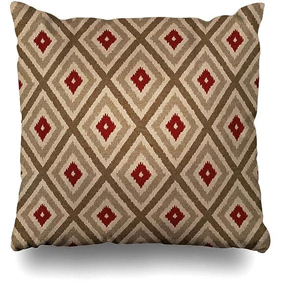 LOVE GIRL Fundas de cojín Ikat Tribal Diamond Pattern Khaki ...