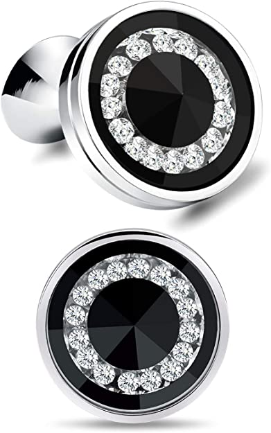 Cat Eye Jewels Men Cufflinks Cubic Zirconia Crystal Round for Luxurious Tuxedo Formal Shirts Wedding Business Gift for Mens Groom C031