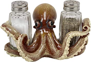 Ebros Deep Cephalopod Octopus Kraken Tentacles Seasoning Salt and Pepper Shakers Holder Figurine 4.75H Ideal Kitchen Dining Table Decor of Octopuses Nautical Sea Creatures Cthulhu Legend Mythical