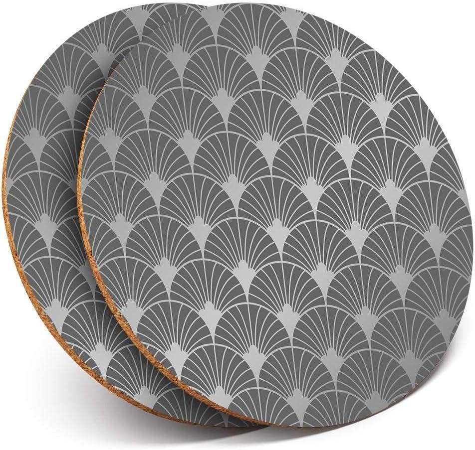 Lot de 2 dessous de verre ronds BW Motif art d/éco vintage r/étro brillant pour tout type de table # 35517
