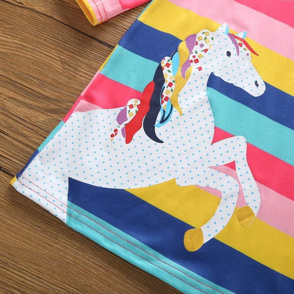 Lenfesh Baby M/ädchen Kleid Rock Weihnachten Kleinkinder Pferd Tier Cartoon Print Striped Casual Kleider Prinzessin Kleid