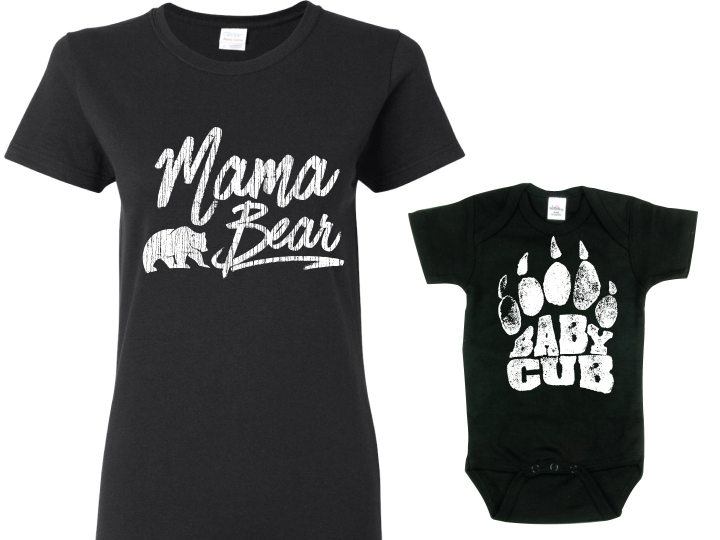 Baby Cub Matching Shirts for Mom and Son, Black Womans Lg Shirt & Black 6-12m