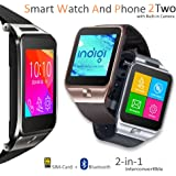 Indigi Unlocked GSM Watch Cell Phone Bluetooth Camera MP3 Radio Pedometer Sleep Monitor Notification Android Galaxy S6 S6 edge Note 4 iPhone (Silver)