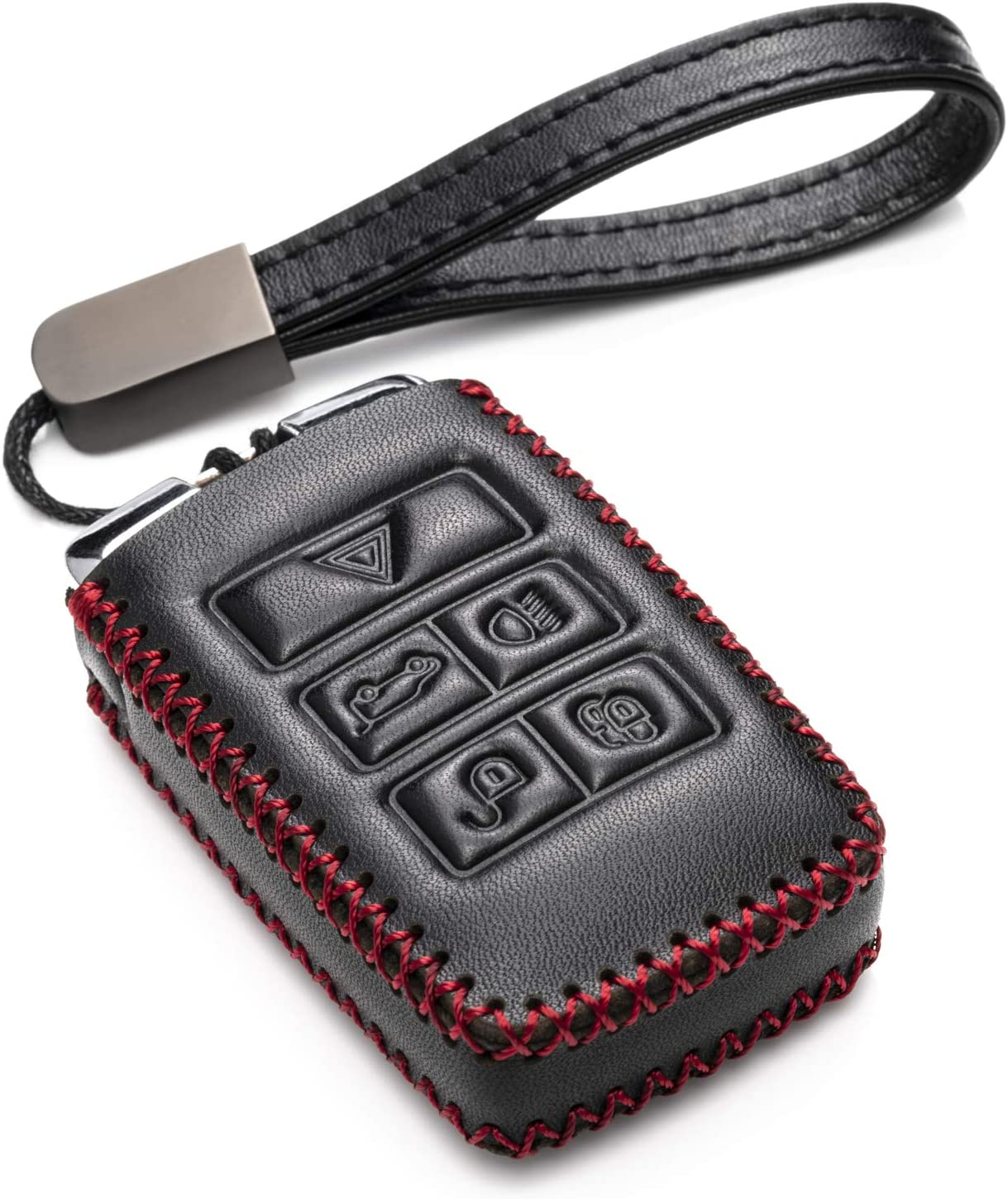 Range Rover Vitodeco Genuine Leather Smart Key Fob Case Cover Protector with Leather Key Chain for 2017-2019 Land Rover Discovery 5-Button, Black