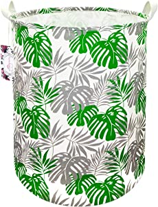 "TIBAOLOVER 19.7"" Large Sized Waterproof Foldable Canvas Laundry Hamper Bucket with Handles for Storage Bin,Kids Room,Home Organizer,Nursery Storage,Baby Hamper (Grey&Green Banana Leaf)"