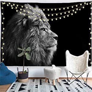 PROCIDA Lion Animal Tapestry Wall Hanging African Lion Tapestry Wall Decor for Dorm Room Bedroom Living Room College, 60