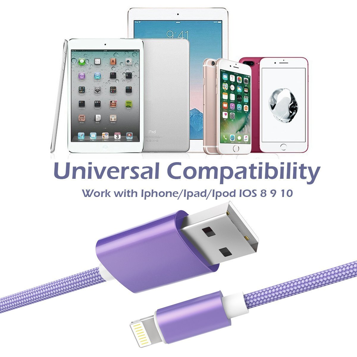 KidKer 4 Pack Lightning iPhone Charger Cables 3ft 3ft 6ft 10ft USB Chagring Certified Nylon Braided Cord Short for iPhone 7 Plus 6S 6 5 5S 5C SE iPad Pro Air Mini 2 3 4 iPod Touch (Purple ( 4 Pack )) by KidKer (Image #7)