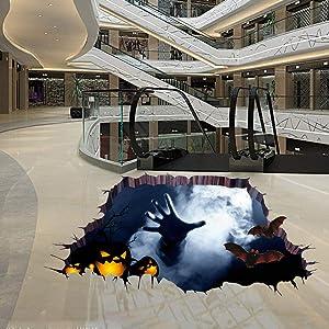 Halloween Floor Sticker PVC 3D Decorative Scary Pumpkin Ghost Hand Bats Spider Wall Decal Wall Sticker Halloween Eve Decor Party Supplies Home Decoration (B)