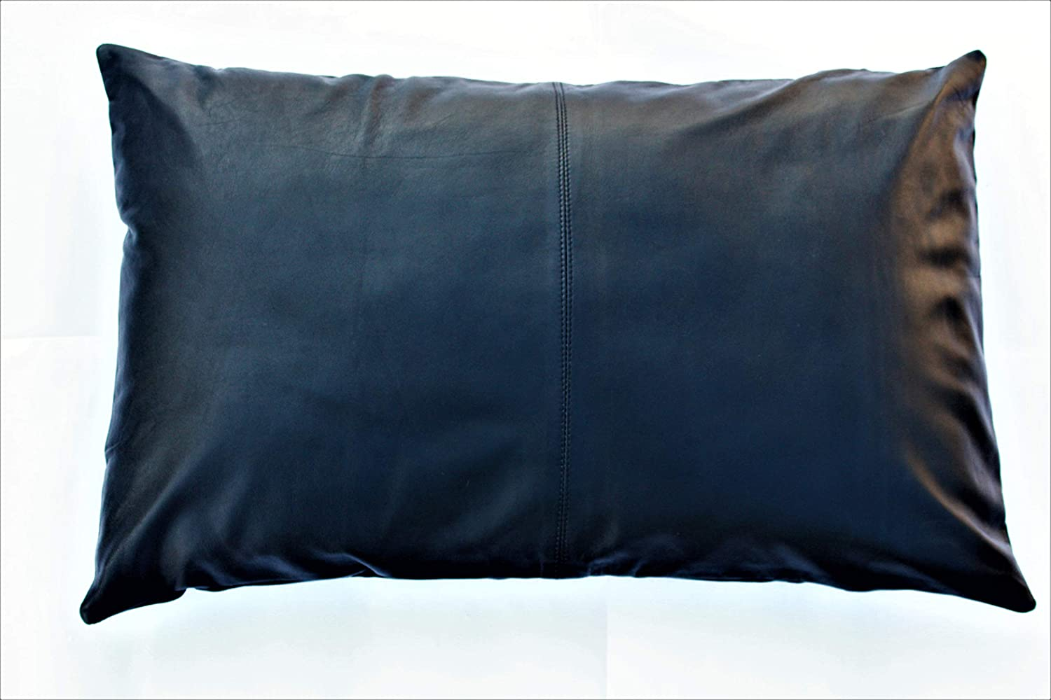 Black, 20x20 Aaron Craft Lambskin Leather Cushion Pillow Cover