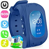 TURNMEON Smart Watch for Kids Children Smartwatch Phone with SIM Calls GPS Tracker Anti-lost SOS Voice Chat Gprs Bracelet Control app (Dark Blue)
