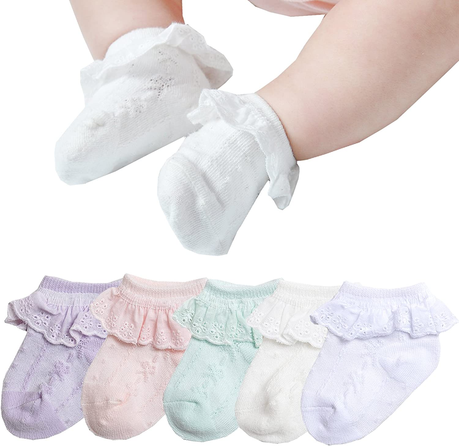3 Pairs Lovely Frills Lace Socks Newborn Infant Toddler Baby Girls Cotton Socks