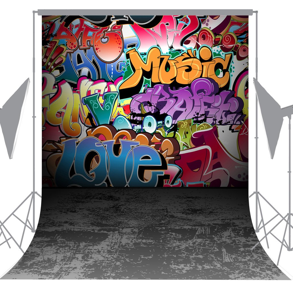 OUYIDA 5X7FT Wall Graffiti Style Pictorial Cloth Photography Background Computer-Printed Vinyl Backdrop TG01A by OUYIDA (Image #3)
