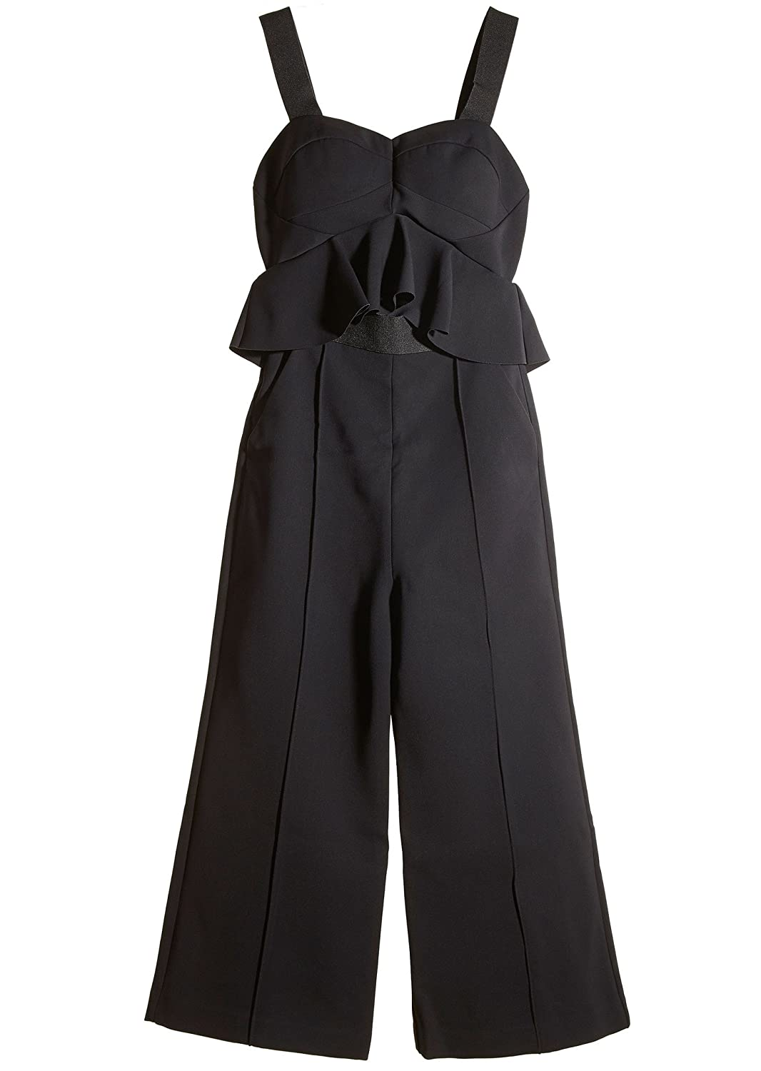 Self Portrait Women's Black Peplum Crepe Jumpsuit 4