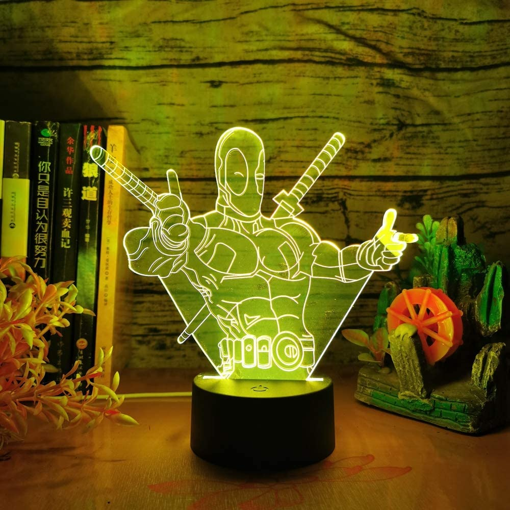 3D LED Night Light Deadpool Black Panther Spider-Man Avengers Figure Hulk Mask
