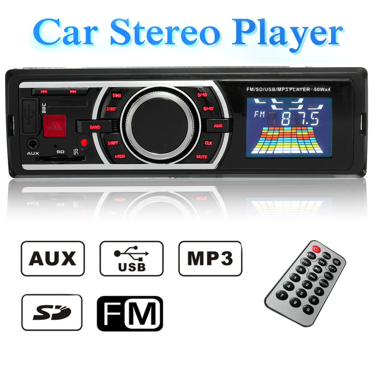Audew Auto Radio Estereo Coche Audio Reproductor MP Player AUX Input USB