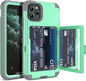 Defender Wallet Design with Hidden Back Mirror and Card Holder Heavy Duty Protection Shockproof 3 in 1 All-Round Armor Protective Case for iPhone 11 Pro (Green)