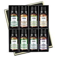 Ätherische Öle Set, VicTsing Top 8 Aromatherapie Duftöl Essential Oil Duftöle mit 100% Pur Therapeutic Grade 10ml / Flasche für Vielseitige Aroma Verwendung - Pfefferminze, Rosmarin, Weihrauch, Süßorange, Eukalyptus, Teebaum, Lavendel und Zitronengras
