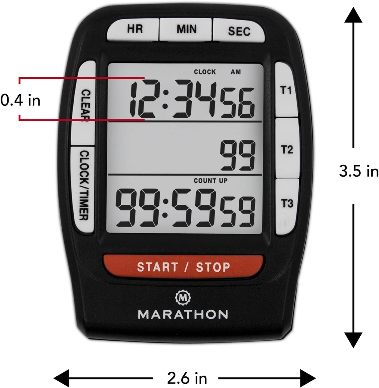 Countup and Clock Feature and Magnetic Clip Batteries Included MARATHON TI030007BK Triple Timer with Countdown Black. Colour