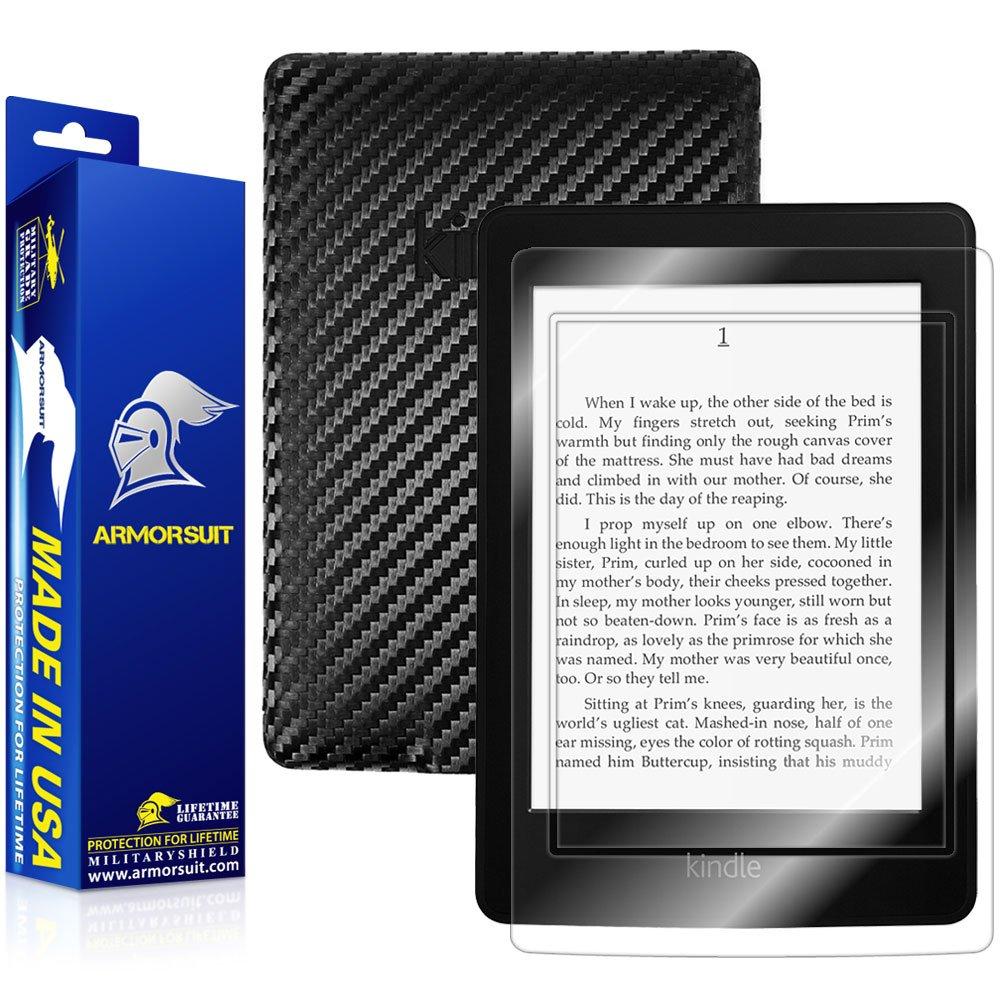 ArmorSuit MilitaryShield - Kindle Paperwhite Black Carbon Fiber Skin Back Protector Film + Anti-Bubble HD Clear Screen Protector For Kindle Paperwhite