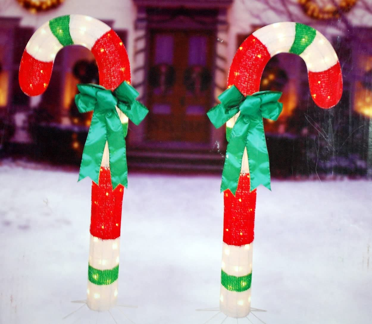 """Amazon 48"""" Tinsel Candy Canes w Bows Set of 2"""
