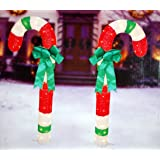 Amazon set of 4 lighted candy cane garden pathway lights yard 48 tinsel candy canes w bows set of 2 outdoor christmas decoration workwithnaturefo
