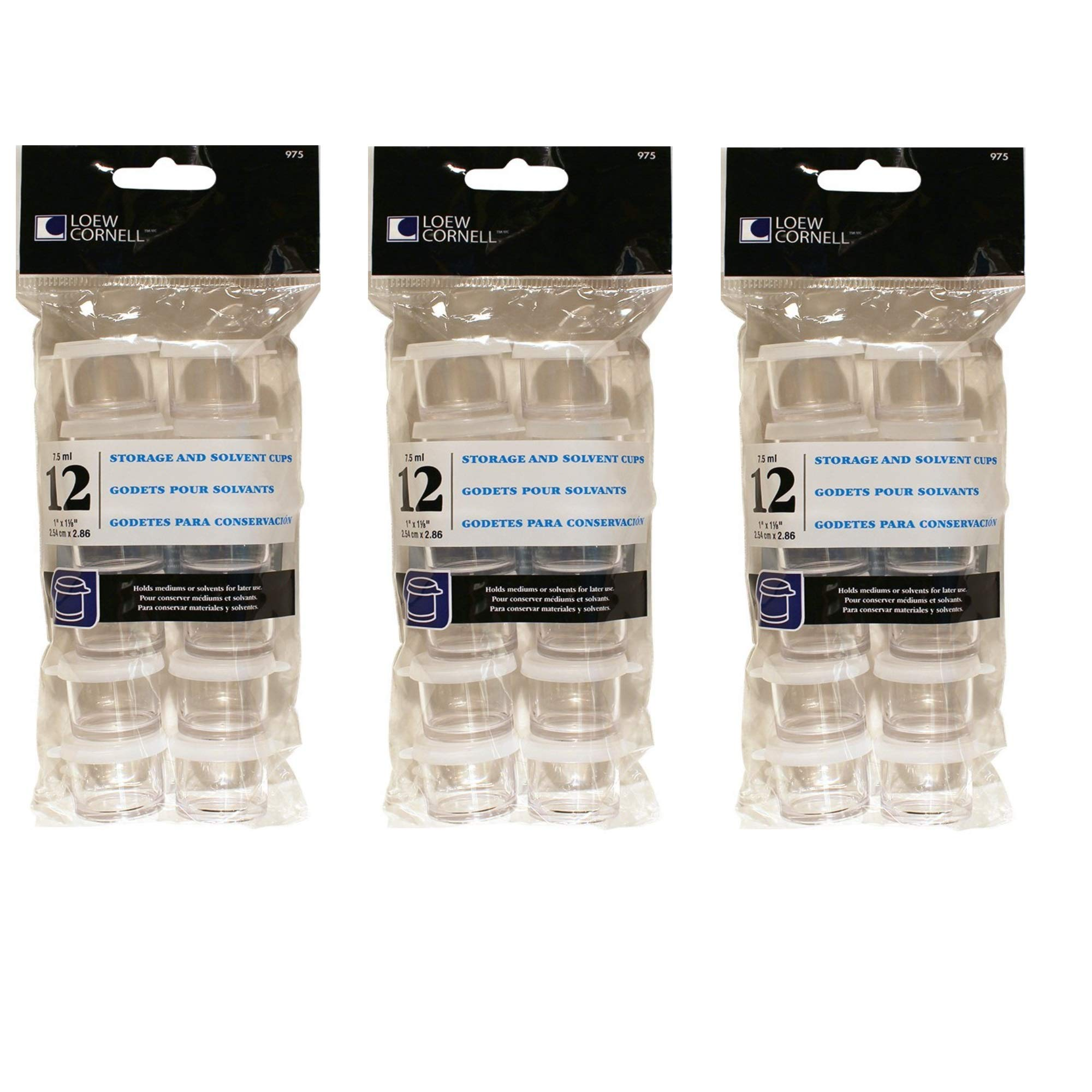 Loew-Cornell 975, 1 Inch Storage Cups, 12 Count, 3 Pack