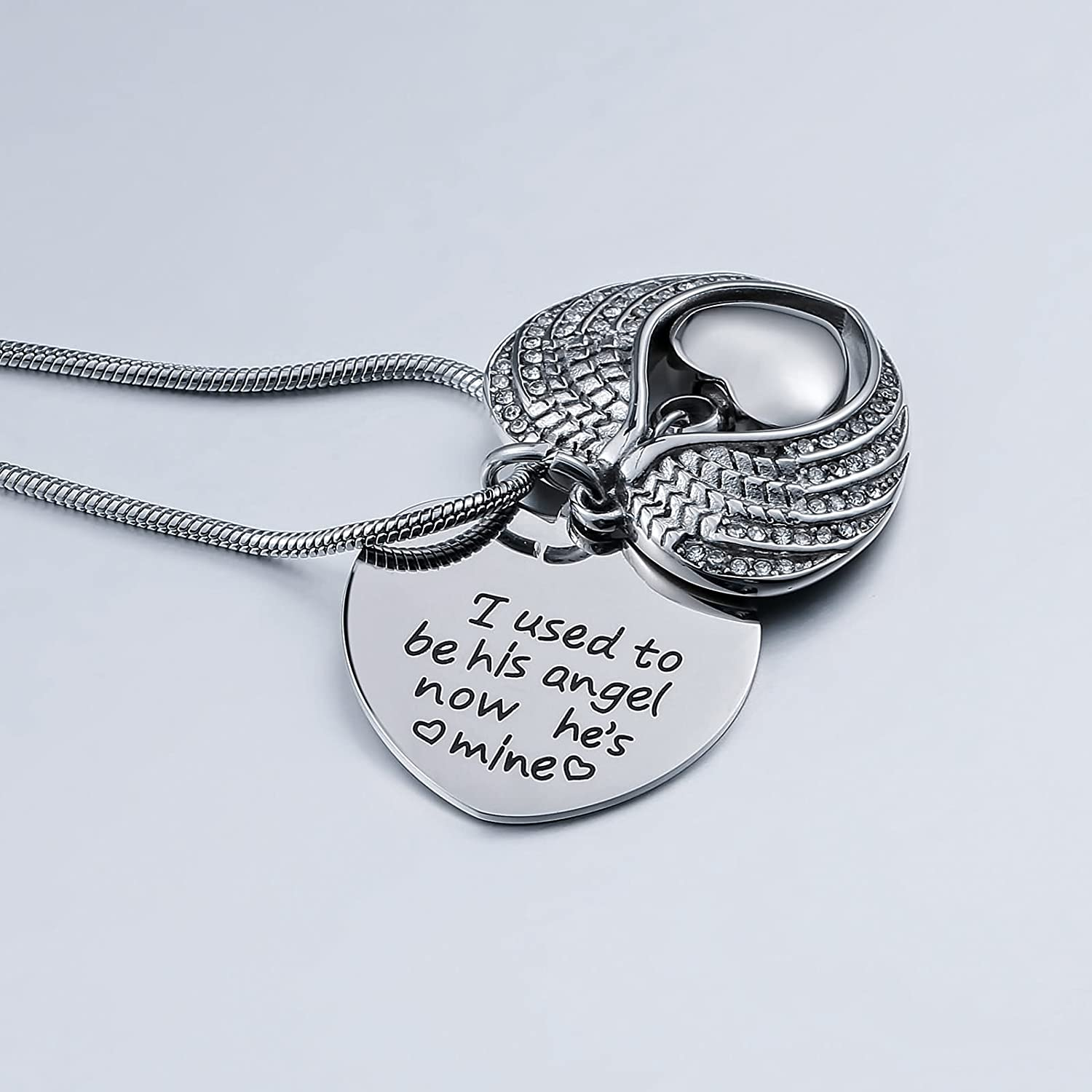 Beydodo Stainless Steel Memorial Necklace Urn Engraved Ash Necklace Urn Wings Heart Cremation Ash Necklace