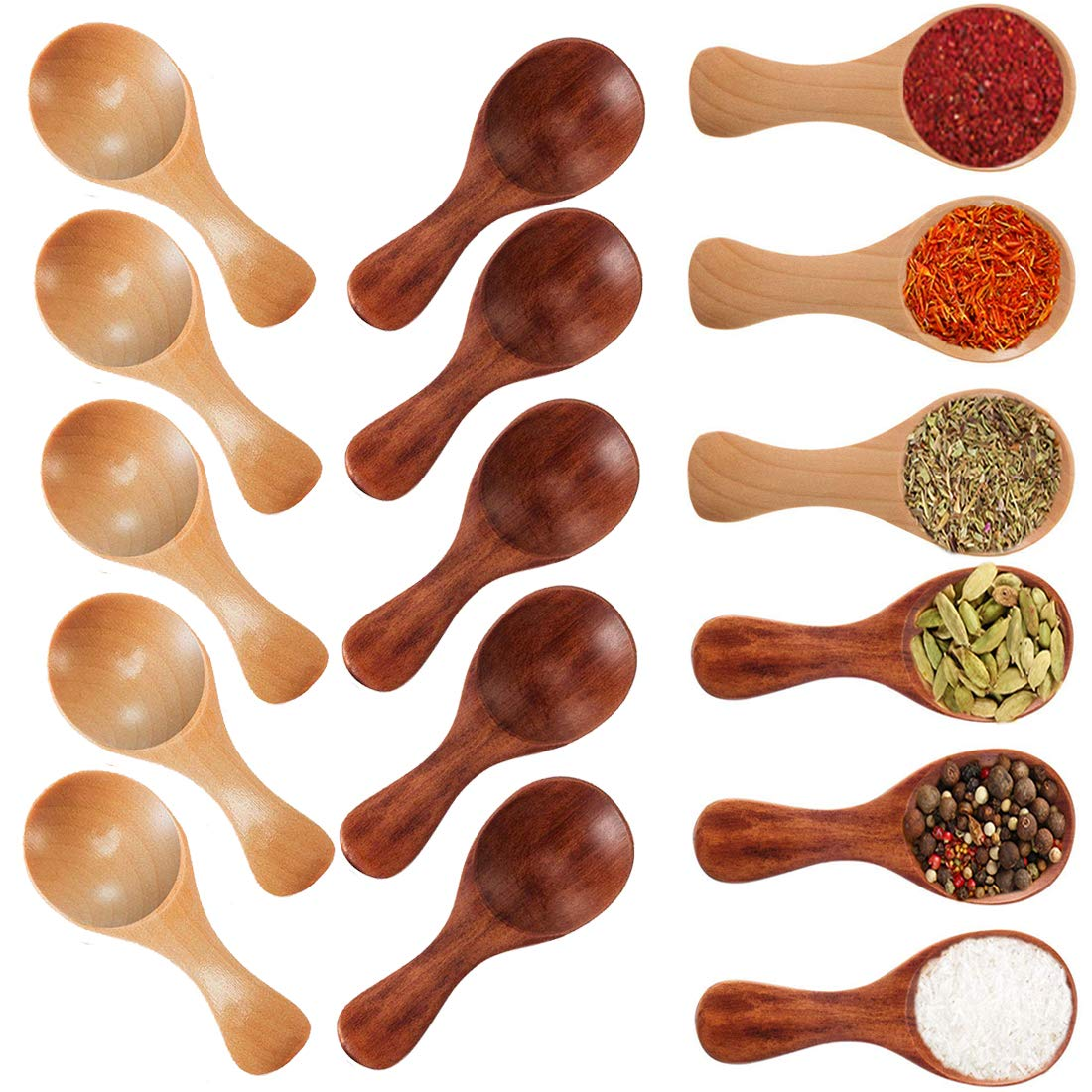 Small Wooden Salt Spoon - 20 Pack Mini Wood Spoon with Short Handle, Perfect for Small Jars of Jam, Spices, Condiments, Seasoning, Sugar, Honey, Coffee, Tea, Mustard, Ice Cream, Milk Powder by Buytra