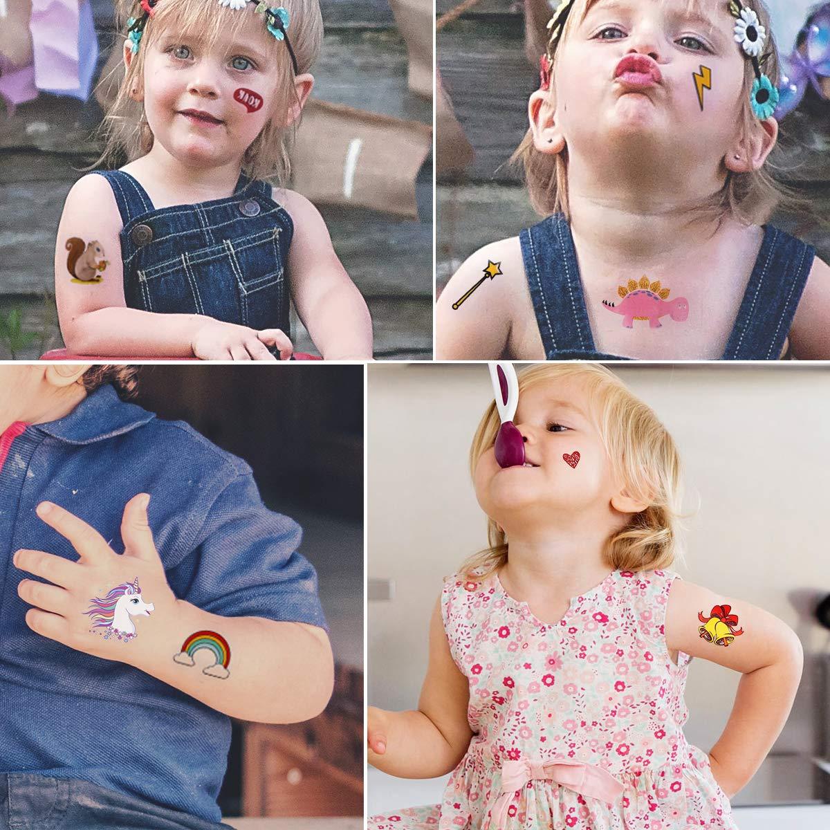 Tattoo Kinder ARINO Einhorn Tattoo Kindertattoos Set 16 Stück Temporäre Tattoo Wasserdichte Aufkleber mit 170 Verschiedenen Motiven für Kinbder Spielen und Kindergeburtstag