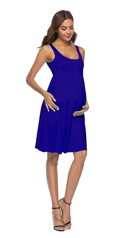 Cityoung Vestido Corto para Mujer sin Mangas de Maternidad, sin ...