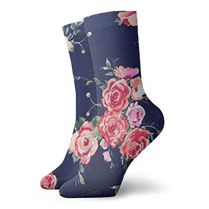 3a506cf92 Image Unavailable. Image not available for. Color  Malsjk8 Rose Navy Floral  Casual Unisex Sock Knee ...